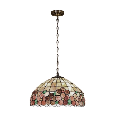 Tiffany Style Shelly Suspended Light Beige Glass 1/2/3 Head Ceiling Pendant Light