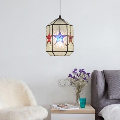Star Design Hanging Lamp Modern Tiffany Ripple Glass Single Light Drop Light in Multi Color