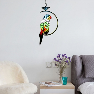 Stained Glass Parrot Suspended Lamp Lodge 1 Head Accent Pendant Light in Multi Color