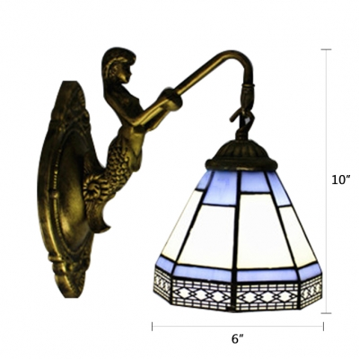 9 Inches High Exquisite Black and White Pattern Mermaid Tiffany Wall Sconce