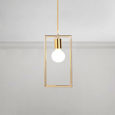 Gold Finish Rectangle Drop Light Vintage Industrial Steel Pendant Light for Hallway Porch HL491016 фото