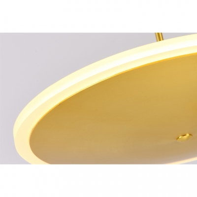 Gold Finish Round Hanging Lamp Post Modern Style Dining Room Acrylic Shade LED Ceiling Pendant