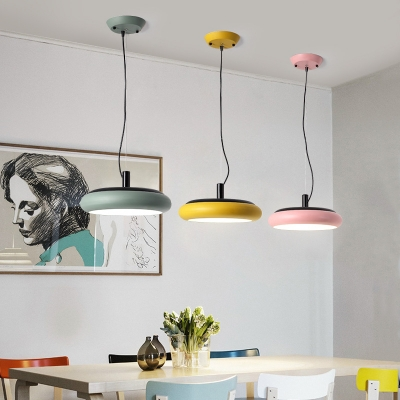 Green/Pink/Yellow Round Pendant Light Nordic Style Acrylic Shade LED Hanging Light for Restaurant
