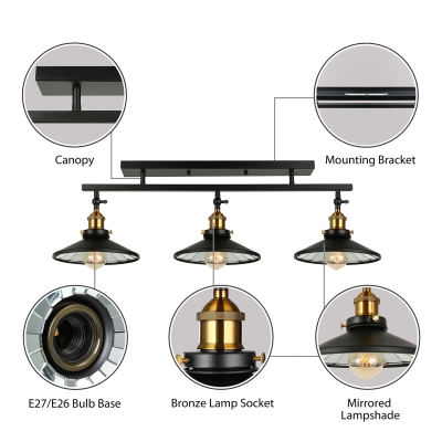 Industrial 3 Light Island Light Metal Cone Shade Semi Flush Ceiling Light in Black