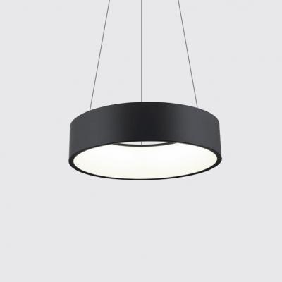 Modern Nordic Hoops LED Pendant Light Metal Acrylic Single Pendant Lamp in Black/Gray/White