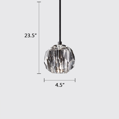 Post Modern Crystal Single Pendant Black/Chrome/Antique Brass Finish Mini Hanging Lamp with Adjustable Hanging Chain