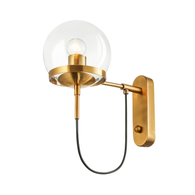 Retro Antique Brass 1-Light Wall Sconce in Globe Shade Decorative Wall Light for Hallway Foyer Restaurant