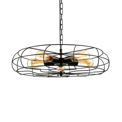 Retro Style 5 Light Ceiling Fan Shape LED Hanging Pendant with Cage