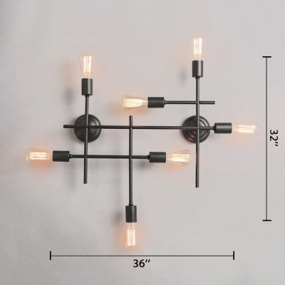 Space-Saving 36'' Wide Stylish LED Wall Sconce Modern Wall Lighting 7 Lt