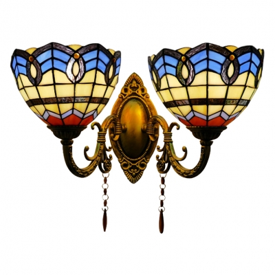Tiffany Baroque Bowl Wall Sconce Stained Glass 2 Heads Lighting Fixture in Blue