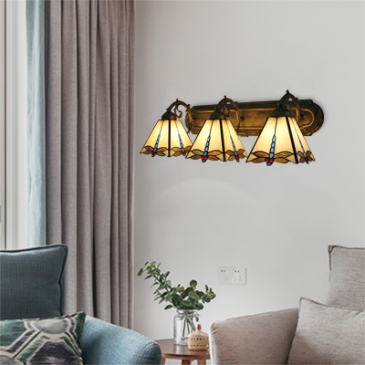 Tiffany Style Dragonfly Wall Lamp Stained Glass 3 Lights Wall Mount Fixture in Beige