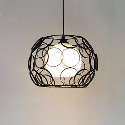 Vintage Globe Hanging Light White Glass Single Pendant Light in Black/White for Kitchen, HL491057