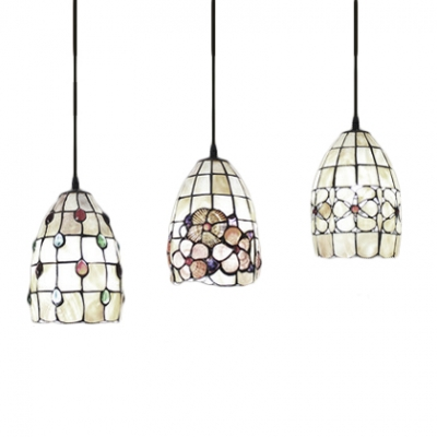 3 Heads Dome Hanging Lamp Tiffany Style Shelly Accent Suspended Light in Multicolor