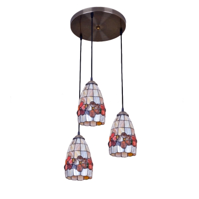 3 Heads Floral Hanging Light Tiffany Style Shelly Suspended Light for Sitting Room