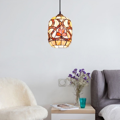 Bucket Shade Pendant Light Tiffany Stained Glass 1 Light Accent Drop Ceiling Lighting