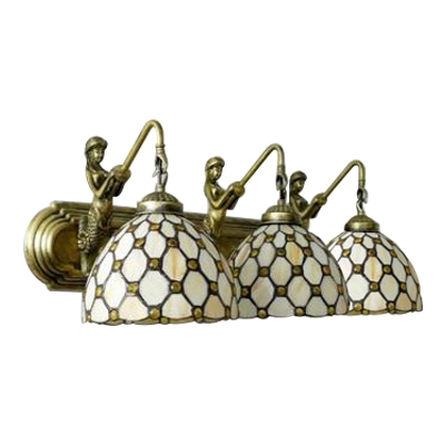 Beige Jeweled Lighting Fixture Tiffany Style Stained Glass 3 Heads Wall Lamp with Mermaid
