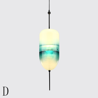 Blue Glass Shade Hanging Pendant Nordic Style LED Suspension Lamp in Warm/White Light