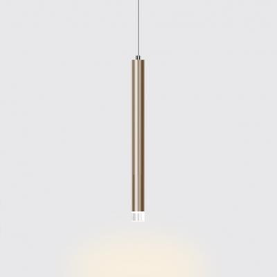 Brushed Gold Tube Pendant Lighting Post Modern Metal 1 LED Downlight for Kitchen Island Bar Cafe