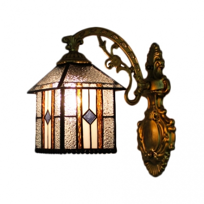 Craftsman House Shade Wall Lamp Tiffany Style Rippled Glass Decorative Wall Sconce