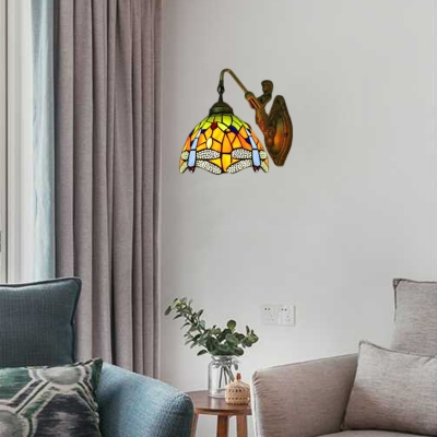Dragonfly Wall Sconce Tiffany Style Stained Glass Wall Lamp in Multicolor for Bedroom