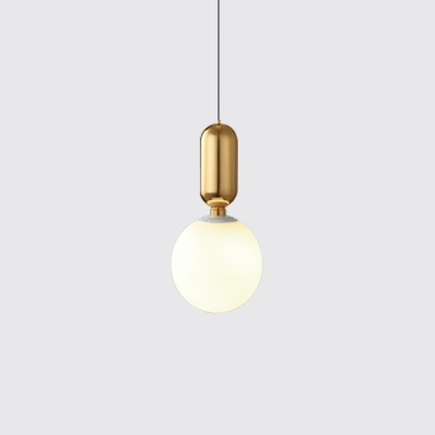 Gold Finish Sphere Pendant Light Post Modern Style Frosted Glass Shade Single Hanging Lamp in White