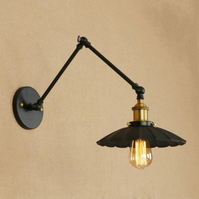 Iron Flared Wall Sconce Industrial Adjustable Single Light Sconce Lighting in Brass