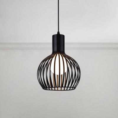 Loft Style Flask Shaped Pendant Lights Metal Caged 1 Bulb LED Ceiling Pendant for Foyer Porch, HL491118, Black;white