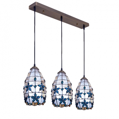 Shelly Floral Ceiling Pendant Lamp Tiffany Triple Head Suspended Light with Blue Beads