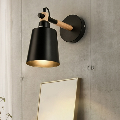Steel Conical Sconce Lighting Loft Style Small 1 Head Wall Light Fixture in Black, HL496477