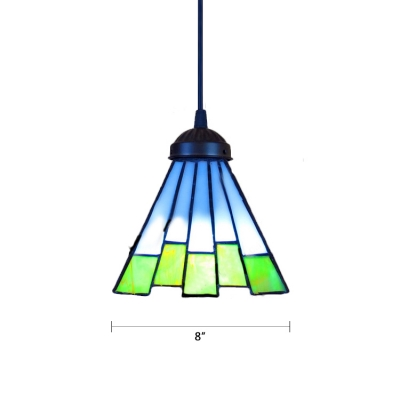 Tiffany Mission Geometric Suspended Lamp Stained Glass 1 Head Lighting Fixture in Multi Color