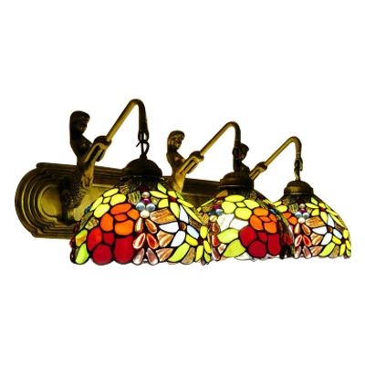 Tiffany Retro Style Dome Wall Sconce Stained Glass Triple Wall Light in Multi Color with Mermaid