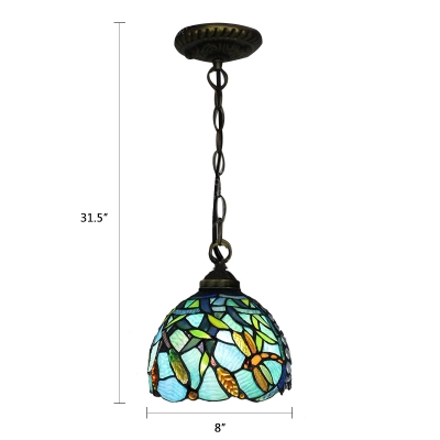 Turquoise Dragonfly Hanging Lamp Tiffany Style Stained Glass 1 Head Suspended Light