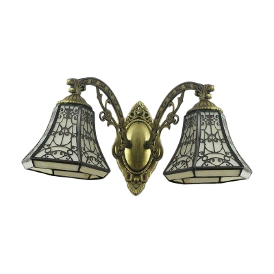 Vintage Tiffany Iron Fence Stained Glass Shade Wall Sconce in Historic Bronze Finish, 2 Light