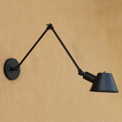 Arm Adjustable Wall Mount Light Industrial Metal 1 Light Wall Sconce in Black for Study Room