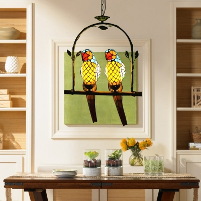 Arch Shelf Hanging Light Tiffany Country Style Stained Glass 2 Light Drop Light with 2 Parrot