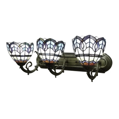 Baroque Style Tiffany Three Light Stained Glass Shade 24