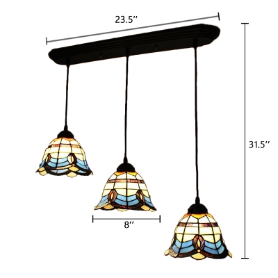 Baroque Tiffany Style Bell Pendant Lamp Stained Glass 3 Lights Suspended Lamp in Multicolor
