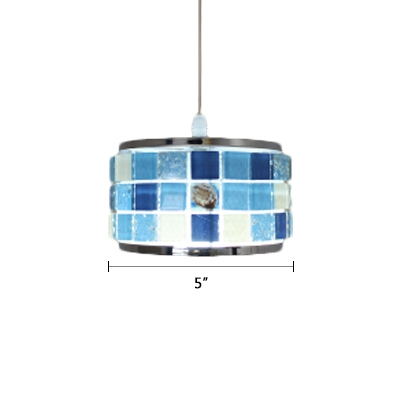 Mosaic Suspended Light Nautical Tiffany Stained Glass Single Bulb Pendant Lamp in Blue