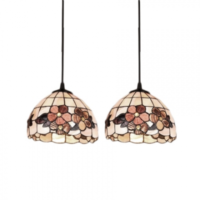 Shelly Suspended Lamp Tiffany Style Stained Glass 2/3 Lights Hanging Light in Beige