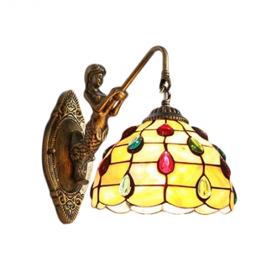 Shelly Wall Sconce with Mermaid Tiffany Style Stained Glass Wall Lamp in Beige