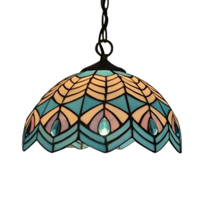 Tiffany Nautical Dome Hanging Lamp Stained Glass