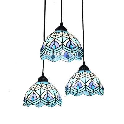 Tiffany Style Peacock Suspended Light Stained Glass 3 Lights Drop Light in Blue for Porch