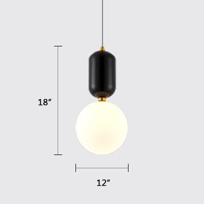 White Glass Globe Mini Pendant Contemporary 1-LED Restaurant Suspension Lamp in Black Finish