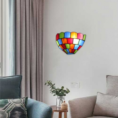 2-Light Multicolored Grid Motif Tiffany Stained Glass Scone Lighting with Semi-Circle Shade 12-Inch Wide