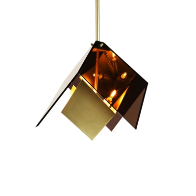 3-Light Geometric Drop Light Amber Post Modern Glass Shade Hanging Lamp for Bar Cafe Counter