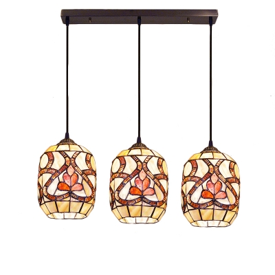 3 Lights Bucket Shade Hanging Light Tiffany Style Shelly Pendant Light in Multicolor