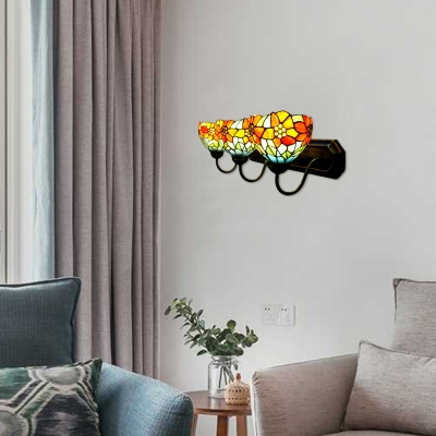 3 Lights Tiffany Wall Light with Sun Flower Décor Stained Glass