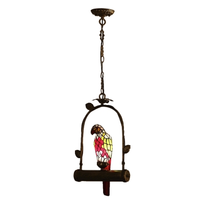 Parrot Shade Pendant Light Lodge Stained Glass 1 Bulb Decorative Drop Light in Red