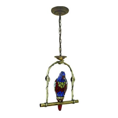 Navy Blue Parrot Suspended Light Tiffany Style Glass Single Head Pendant Lamp for Living Room