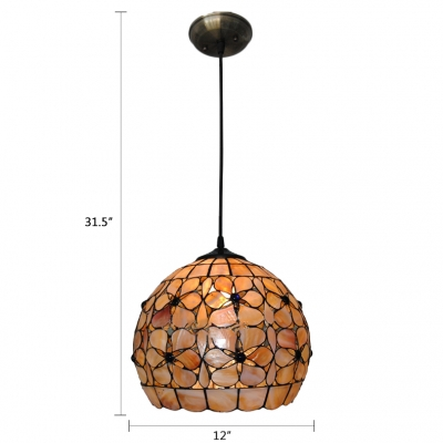 Tiffany Style Shelly Suspended Lamp Stained Glass Single Bulb Hanging Light in Beige
